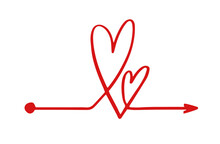 Hand Drawn Red Heart Line Arrow Clew Chaos Ball Complicated On White Background. Vector Simple Lovevalentine Mind Abstract Icon Illustration. Love Process Concept.