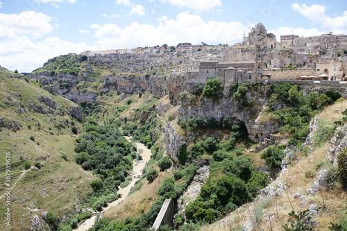 Tablou Canvas Canyon carved by the Gravina River where lies Matera, Basilicata, Italy