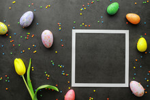 Easter Background On Black Sto...