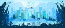 Winter City Christmas Vector Background With Skyscrapers, Pine Trees Silhouette, Snow, Lake.X-mas Holiday Urban Illustration With New York Buildings, Park, Water, Sky.Winter City Architecture Postcard
