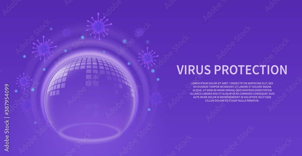 Fototapeta Bubble shield. Glowing transparent sphere with pattern, virus barrier background. Infection protection purple banner, force energy field futuristic poster with copy space vector concept