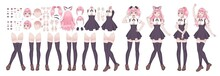 Anime Girls Character Kit. Manga Japanese Style Woman With Various Face Emotions Hands And Legs Position, Hairstyles Kawaii Asian Teen In Cosplay Clothes Vector Comic Female Cartoon Set