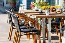 Sidewalk Open Air Cafe With Em...