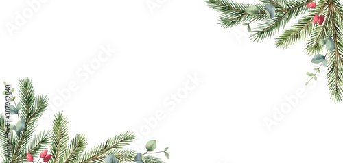 Obraz Watercolor vector Christmas card with fir branches and eucalyptus leaves. - fototapety do salonu