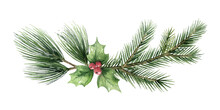 Watercolor Vector Christmas Wreath With Fir Branches And Green Leaves.