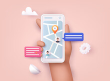Hand Holding Mobile Smart Phone With App Delivery Tracking. Vector Modern 3d Creative Info Graphics Design On Application.