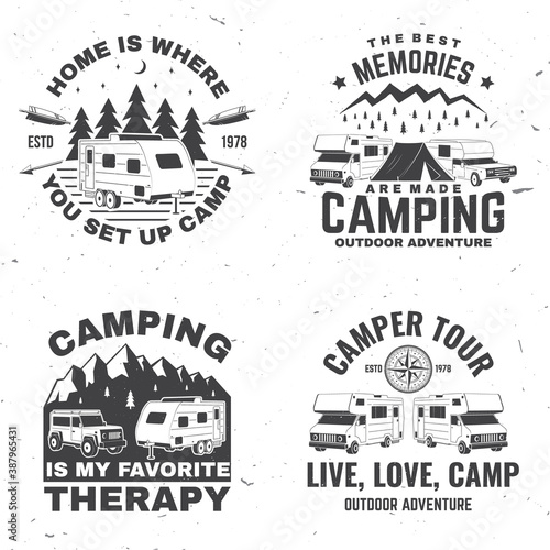 Valokuva Set of rv camping badges, patches