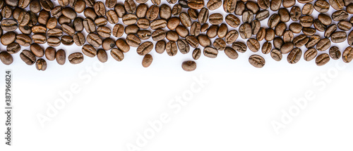 Foto Frame of Coffee beans on white background