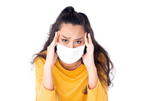 Stress Worry Asian Woman Wearing Hygienic Mask To Prevent Infection Corona Virus Air Pollution Pm2.5 She Wearing A Yellow Sweater Shoot In Isolated On White Background