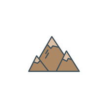Summer And Winter Mountain Explorer Camp Icon In Flat Style. For Mobile Applications, Travel Infographics, Adventure Sites. Retro Color Design. Isolated .