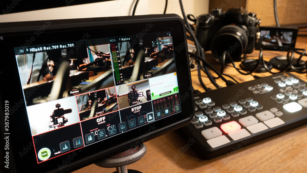 Fototapeta Streaming setup with video mixer, camera and screen