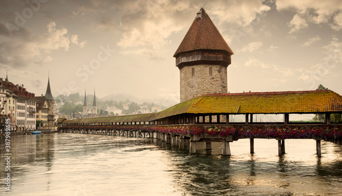 Fotografie, Obraz Panorama of Lucerne old town with Chapel Bridge and Water Tower