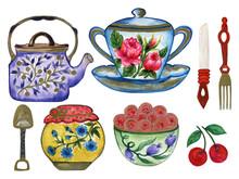 Watercolor Ceramic Porcelien D...