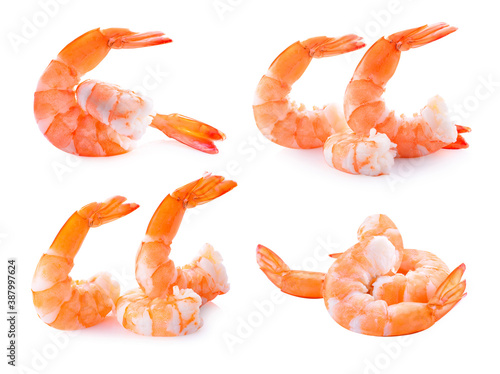 Cooked shrimps isolated on white background Canvas