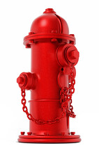 Red Fire Hydrant Isolated On White Background. 3D Illustration