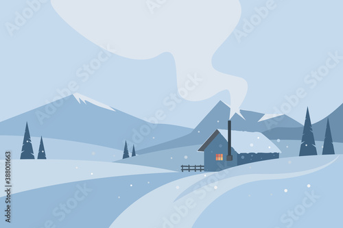 Winter background with mountains, pine trees and a house Billede på lærred