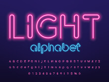 Glowing Neon Light Alphabet Design With Uppercase, Lowercase, Numbers And Symbol