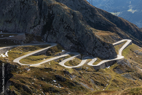 Canvas Tremola road on the Gotthard Pass in the Swiss mountains