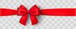 Realistic red bow and ribbon. Christmas shiny red satin ribbon. New year gift. Decorative red satin ribbon and bow with shadow on transparent background - stock vector.