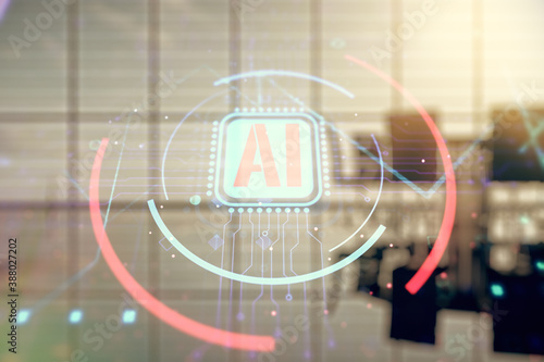 Double exposure of creative artificial Intelligence abbreviation hologram on a modern boardroom background Wallpaper Mural