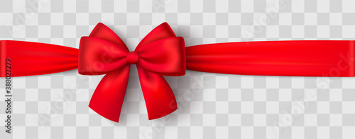 Realistic red bow and ribbon Canvas Print