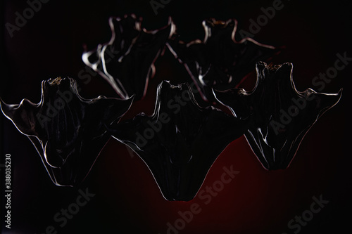 Fotografering group of horned demons on a dark background. High quality photo