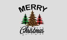 Merry Christmas - Leopard Print And Buffalo Plaid Christmas Tree Art & Illustration