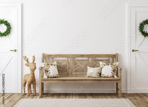 Scandinavian farmhouse hallway interior with Christmas decoration, wall mockup, Fotobehang