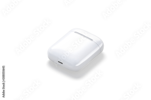 Blank white closed headphones case mock up lying, side view