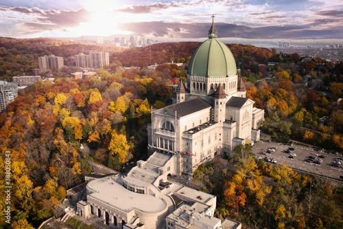 Montreal Oratoire St-Joseph with autumn colourful threes
