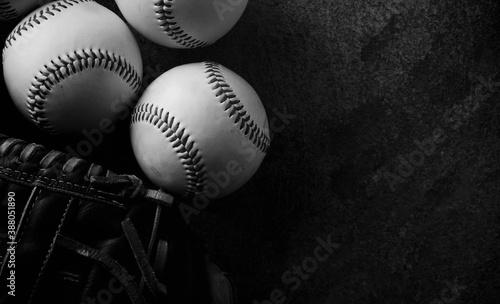 Tela Dark moody baseball background in black and white