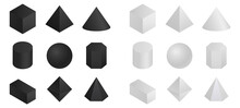 Geometric 3d Shapes Isometric. Round And Pyramidal Shapes With Polygonal Projection In White And Black.