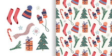 Christmas Set With Seamless Pattern And Cute Winter Cozy Elements, Vector Design