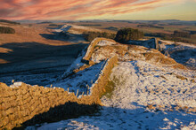 Hadrians Wall From Once Brewed In The North Pennines