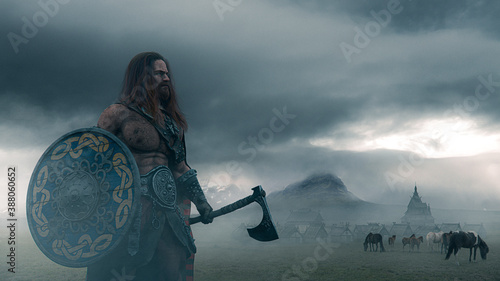Photo Viking warrior holding an ax with a shield  on a foggy landscape with ancient vi