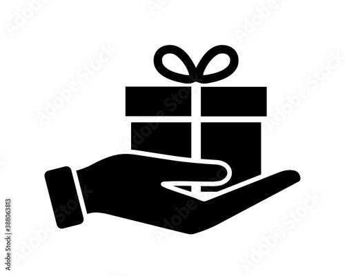 Fototapeta prezent na dłoni ikona obraz