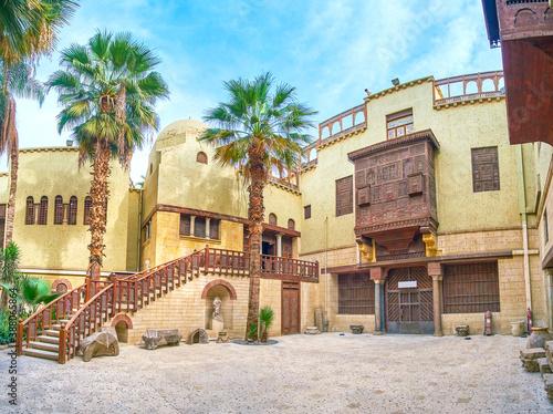 Panorama of courtyard of historical edifice, Cairo, Egypt Wallpaper Mural