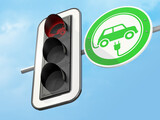 Fototapeta Perspektywa 3d - Traffic red light with prohibition symbol for diesel and petrol cars and green traffic sign for electric cars. 3d render.