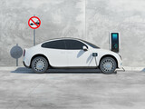 Fototapeta Perspektywa 3d - Futuristic electric car connected to the charging station to charge the battery against the background of a concrete wall. 3d render.