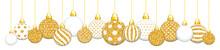Banner Hängende Weihnachtskugeln Glitzer Gold Und Weiß