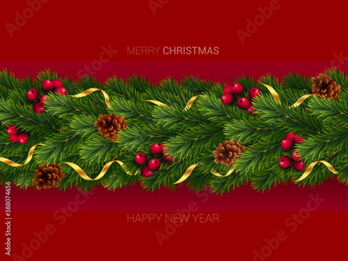 Christmas and New Year wreath garland made of naturalistic looking pine branches with red berries and cones Wallpaper Mural