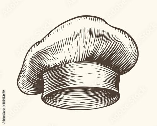 Tela Chef hat sketch. Restaurant concept vintage vector illustration