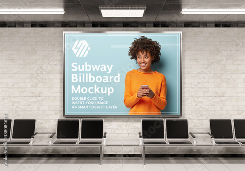 Obraz Horizontal Billboard in Subway Station Mockup - fototapety do salonu