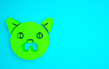 Green Cat Icon Isolated On Blue Background. Animal Symbol. Minimalism Concept. 3d Illustration 3D Render.
