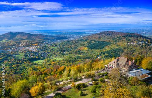 Fotomural View of the Merkur restaurant and the Rhine Valley near Baden Baden, Baden Wuert