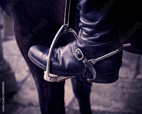 Detalle de bota de montar a caballo con espuela sobre estribo Wallpaper Mural