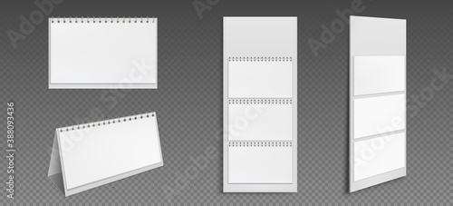 Calendar mockup with blank pages and binder Canvas Print