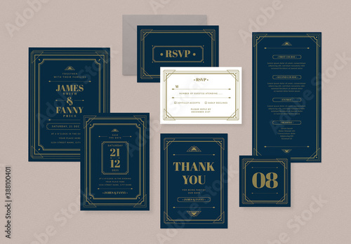 Obraz Art Deco Wedding Invitation Suite - fototapety do salonu