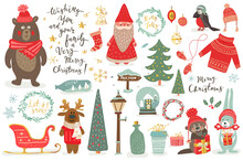 Hand Drawn Christmas Set In Cartoon Style. Funny Card With Cute Animals And Other Elements