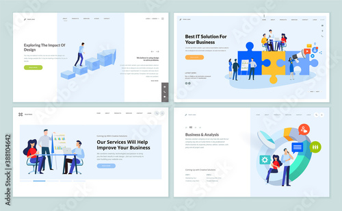 Set of website template designs of business services and app, data analysis, marketing and web design. Vector illustration concepts for website and mobile website development.